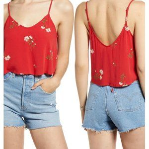 NWT BP Red Floral Double V Crop Tank Top